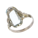 Late Art Deco 14kt Aquamarine + Filigree Ring