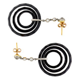 Late Art Deco 18kt Faceted Onyx + Diamond 3-Hoop Earrings