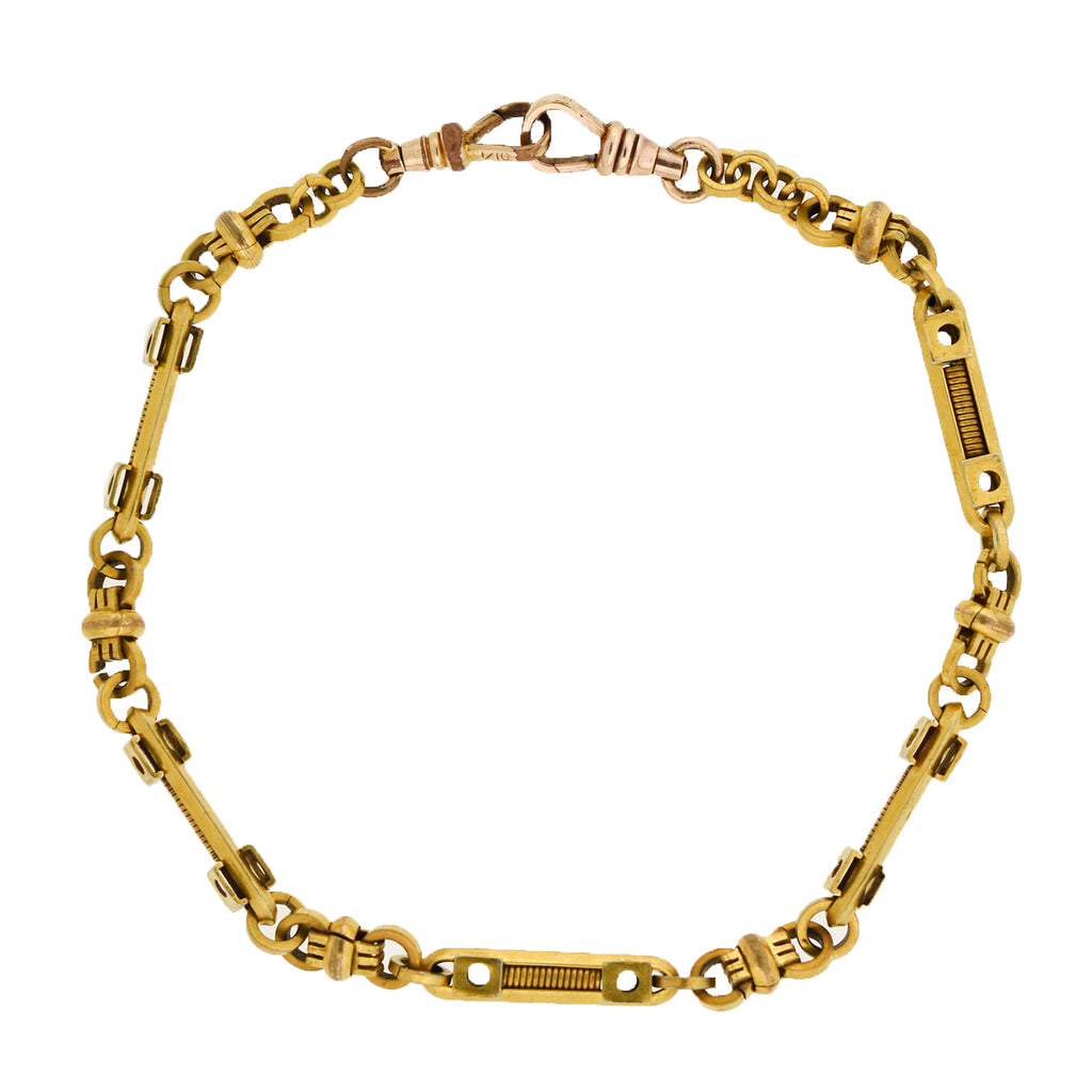 "Victorian Gold-Filled ""Industrial Style"" Watch Chain 12"""