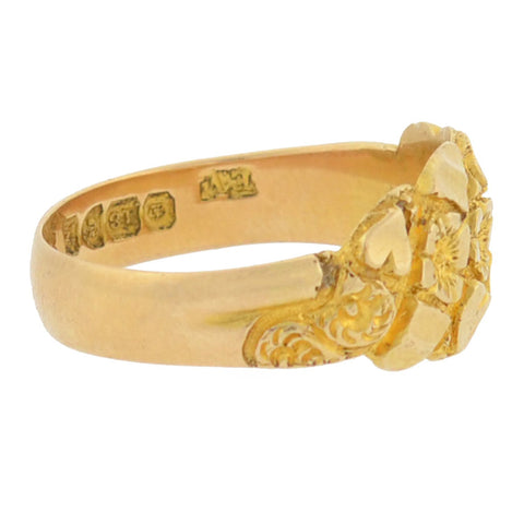 Art Nouveau English 18kt Carved Floral + Heart Motif Ring