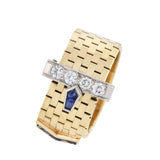 Retro 14k/Platinum Sapphire + Diamond Adjustable Buckle Ring