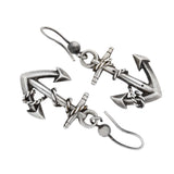 Victorian Sterling Silver Anchor Link Dangling Earrings