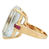 Retro Large 14kt Aquamarine + Ruby Cocktail Ring 30.00ct center