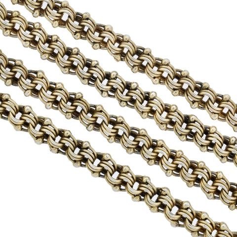 Victorian Austro-Hungarian Gilded Silver Watch Chain Necklace 33""
