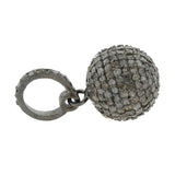 Estate Sterling Pavé Diamond Ball Pendant/Charm