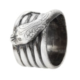 Victorian Sterling Diamond Wide Band Snake Ring