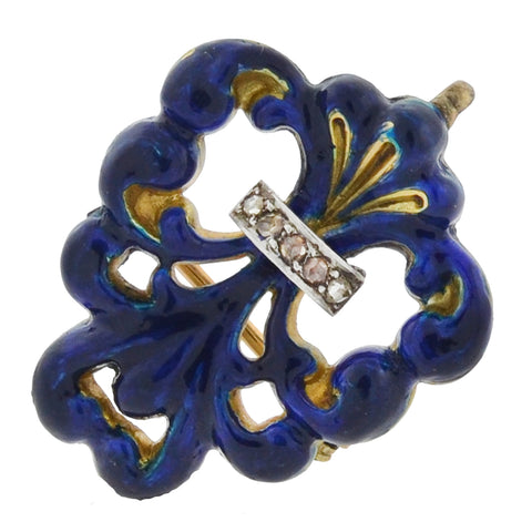 "Victorian 14kt Blue Enameled Diamond ""Fleur-de-Lys"" Watch Pin"