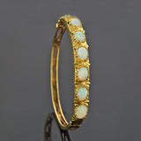 Retro 14kt Opal Hinged Bangle Bracelet