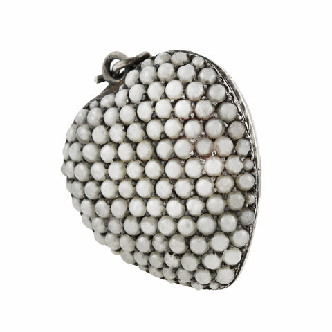 Victorian Sterling Natural Pavé Pearl Heart Pendant/Locket