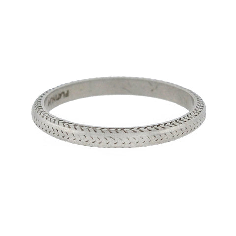 Art Deco Platinum Engraved Band Ring