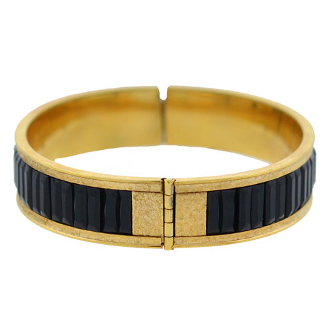 DUNN BROS. Art Deco Gold-Filled + Faux Onyx Etched Bangle Bracelet