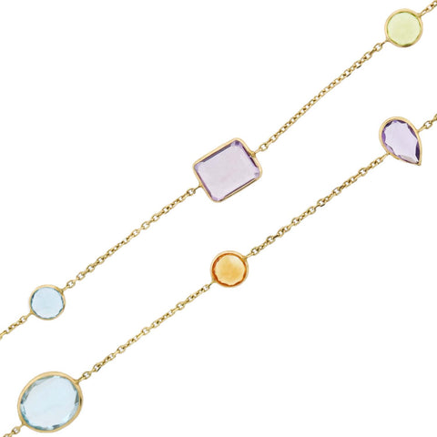 Estate 14kt Multi-Gemstone Chain Necklace 36""