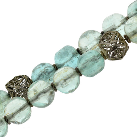 Art Deco Chinese Aquamarine + Silver Filigree Bead Necklace 17.5""