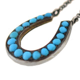 Victorian Petite Sterling + Turquoise Horseshoe Necklace 18