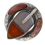 Victorian Large Sterling + Scottish Agate Buckle Pin