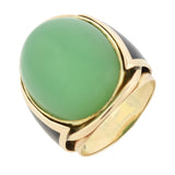 Vintage 14kt Large Jade Cabochon + Inlaid Black Enamel Ring
