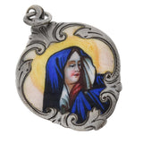 Victorian Sterling Hand Painted Enamel Virgin Mary Pendant