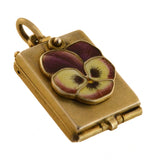 Art Nouveau Silver Gilt Enamel Pansy Flower Slide Magnification Locket