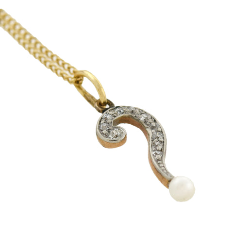 "Edwardian 14kt/Platinum Diamond + Pearl ""Question Mark"" Pendant Necklace 18.5"""