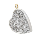 Late Art Deco 14kt Pavé Diamond Heart Pendant 0.60ctw