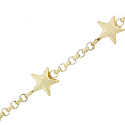 Estate 14kt Yellow Gold Star Motif Chain Necklace 46""