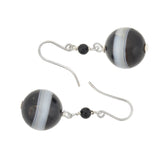 Victorian Sterling Silver Banded Agate Earrings