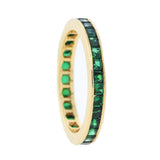 Estate 14kt Square Cut Green Tourmaline Eternity Band