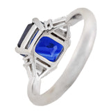 Estate Platinum Sapphire + Trillion Cut Diamond Ring 3.01ct center