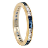 Vintage 14kt Yellow Gold Sapphire + Diamond Eternity Band