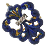 Victorian 14kt Blue Enameled Diamond