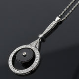 Art Deco Platinum Diamond + Onyx Pendant Necklace 15.75