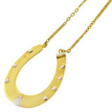 Victorian English Gold-Plated Lucky Horseshoe Pendant Necklace 23