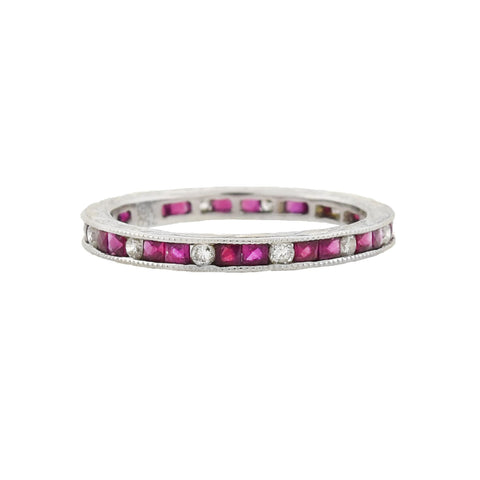 Estate 18kt White Gold French Cut Ruby + Diamond Eternity Band