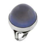 Arts & Crafts Sterling Blue Chalcedony Cabochon Ring 40.00ct