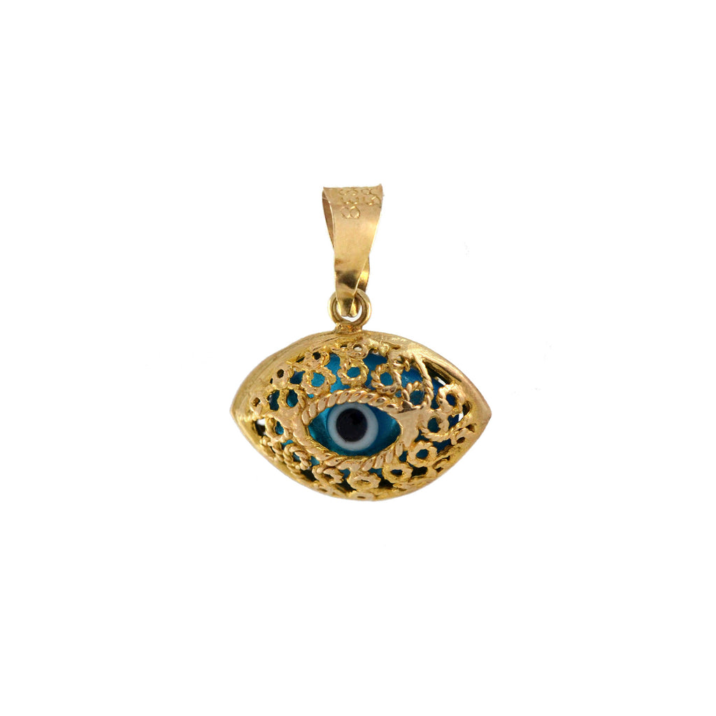 "Estate 14kt Glass ""Evil Eye"" Double-Sided Filigree Charm Pendant"