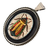 Victorian Large Sterling Onyx + Micro Mosaic Scarab Beetle Pendant