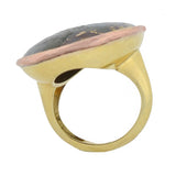 Victorian 18kt Huge Gold in Quartz Statement Ring