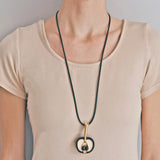 Vintage Large 18kt Ivory, Wood + Onyx Apple Pendant Necklace 30