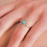 Victorian Russian 14kt Rose Cut Diamond + Turquoise Navette Ring