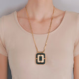 TIFFANY & Co. Vintage Large 18kt Onyx + Ivory Pendant Necklace 24.5