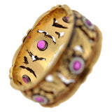 Retro 14kt Mixed Metals Ruby Flower Filigree Wide Band