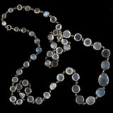 Art Nouveau Sterling Blue Moonstone Link Necklace 24.5