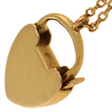 Victorian 15kt Gold Padlock Heart Charm Necklace 23