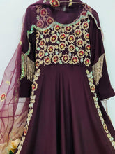 Load image into Gallery viewer, Wine High Slit Anarkali Gown
