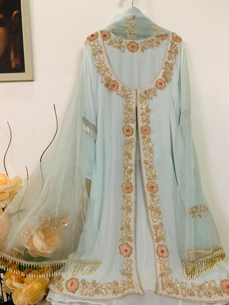 Aqua Georgette Jacket Suit