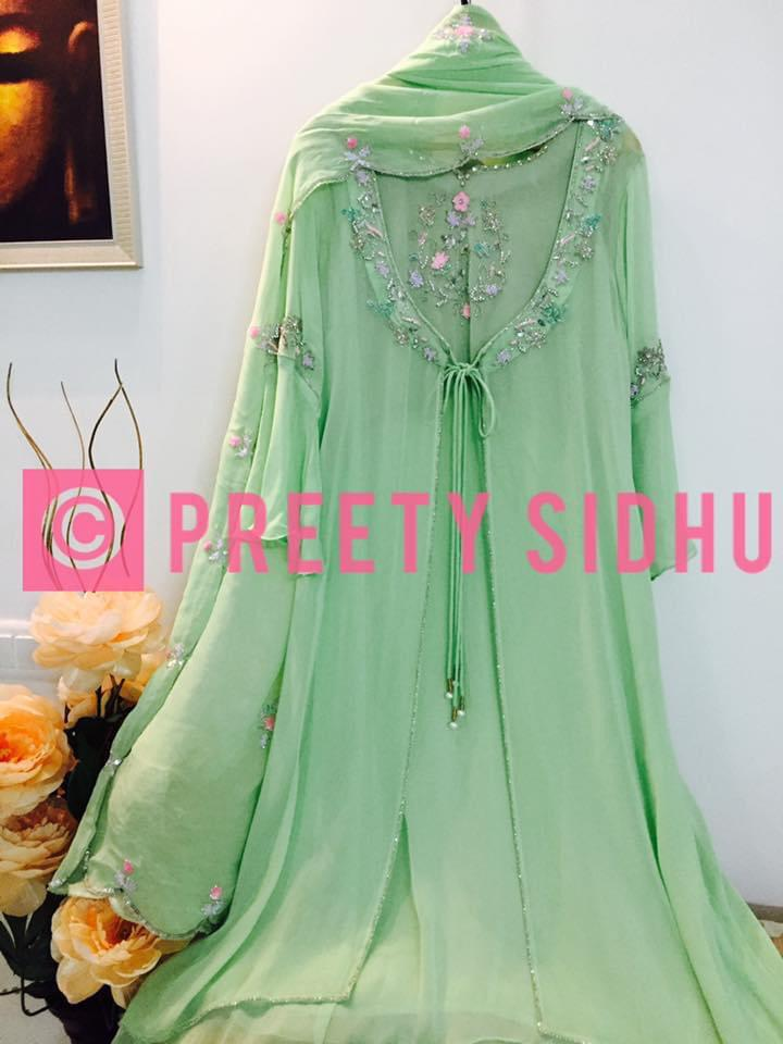 Willow Green Georgette Jacket Suit
