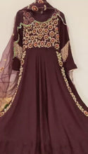 Load and play video in Gallery viewer, Wine High Slit Anarkali Gown