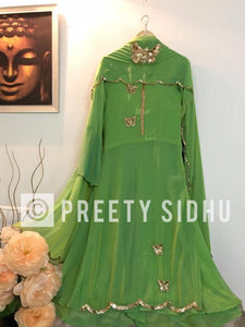 Light Green Georgette Butterfly Sharara Suit