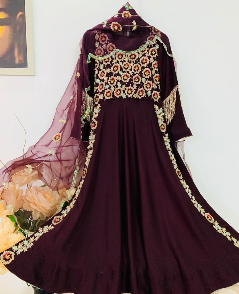 Wine High Slit Anarkali Gown