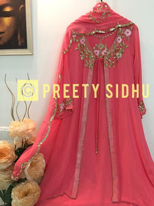 Rouge Pink Georgette Jacket Suit